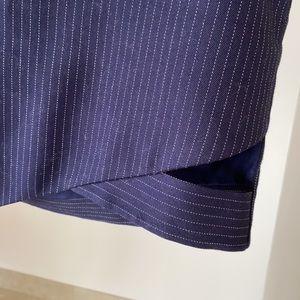 Pinstripe navy/ white Mason asymmetric mini skirt